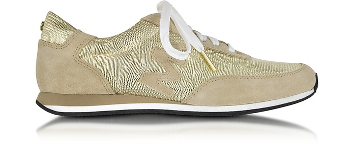 3461d5655365 Michael Kors Stanton Leather and Suede Gold Sneaker 6M US at FORZIERI