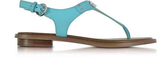 Aquamarine Logo Plaque Leather Sandal - Michael Kors