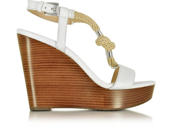 Holly Rope and Optic White Leather Wedge Sandal