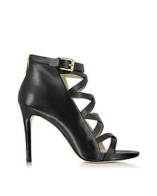 Theodore Back Zip Black Leather Sandal