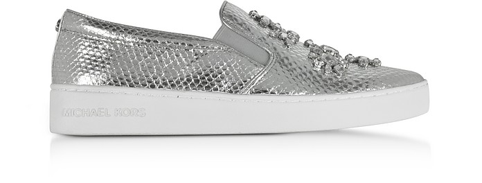 2bfc8a482b25f Keaton Silver Metallic Embossed Snake Leather Slip On Sneakers w Jewels -  Michael Kors
