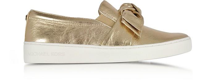 Willa Pale Gold Metallic Nappa Leather Slip On Sneakers