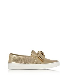 Willa Pale Gold Metallic Nappa Leather Slip On Sneakers - Michael Kors