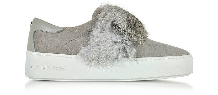 Maven Pearl Grey Rabbit Fur and Suede Sneaker - Michael Kors