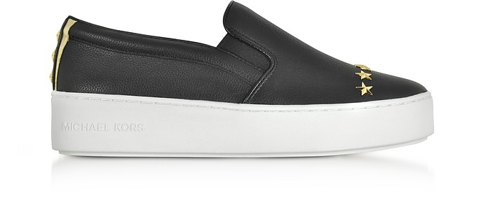 Trent Black Leather Embellished Slip On Sneakers wGoldtone Stars