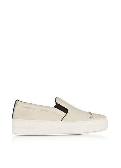 Trent Optic White Leather Embellished Slip On Sneakers w/Silvertone Stars - Michael Kors