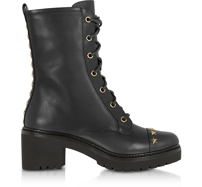 Cody Black Leather Mid-Heel Boots w/Star Studs - Michael Kors