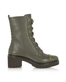 Cody Olive Leather Mid-Heel Boots w/Star Studs - Michael Kors