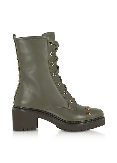 Cody Olive Leather Mid-Heel Boots w/Star Studs - Michael Kors