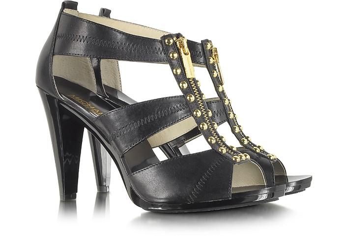 Linden Berkley T Strap Black Leather Sandal