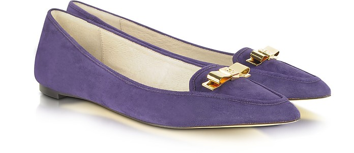 Vivienne Pointed-Toe Purple Suede Flat - Michael Kors