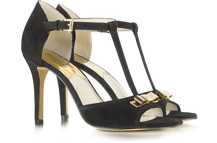 c1d385862aa3 Michael Kors Vivienne Black Suede T Strap Sandal 9M US at FORZIERI