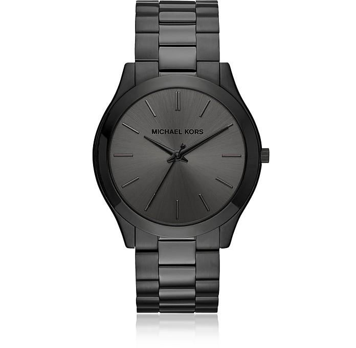 Michael Kors Slim Runway Stainless Steel Men's Watch In Black