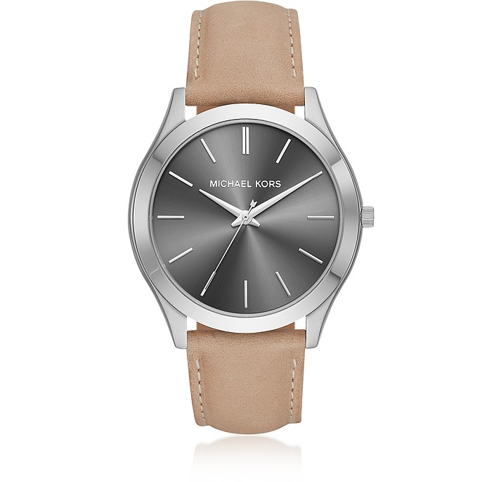 Slim Runway Silver Tone and Light Brown Leather Men's Watch - Michael Kors