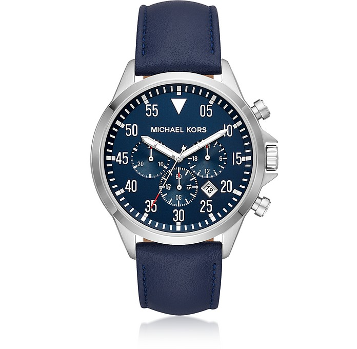 Gage Silver Tone and Blue Leather Men's Watch - Michael Kors