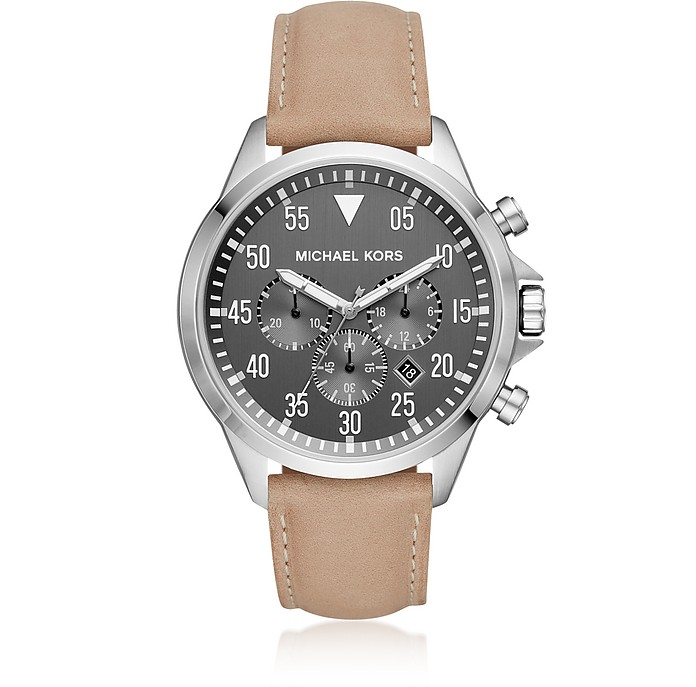 0ea695f9bfd0 Michael Kors Gage Silver Tone and Light Brown Leather Men s Watch at ...