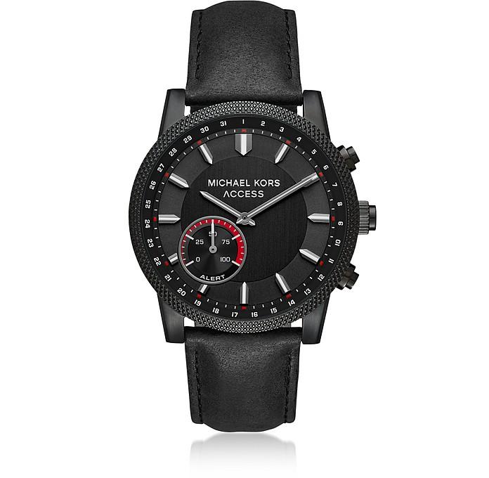 Michael Kors Acess Men's Scout Black IP and Black Leather Hybrid Smartwatch - Michael Kors
