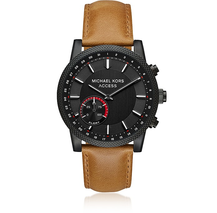 Michael Kors Access Men's Scout Black IP and Brown Leather Hybrid Smartwatch - Michael Kors