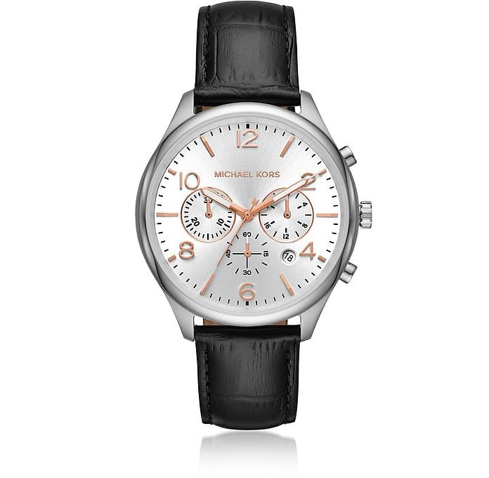 Merrick Black Crocodile-Embossed Leather Multi-function Watch - Michael Kors