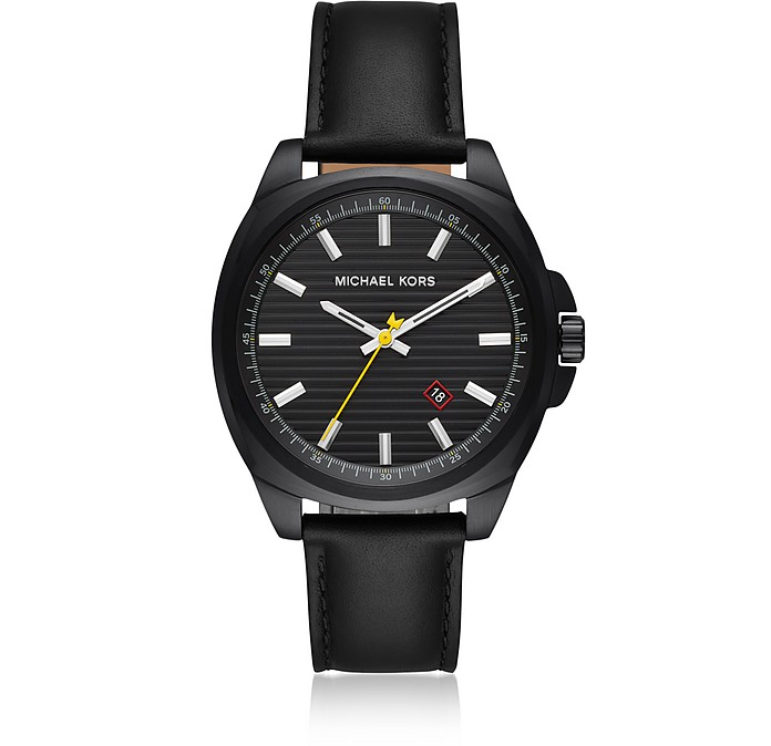Bryson Black IP and Leather Men's Watch - Michael Kors