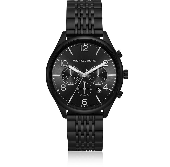 Merrick Black Plated Chronograph Watch - Michael Kors