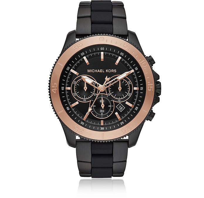 Oversized Theroux Black-Tone and Silicone Watch - Michael Kors