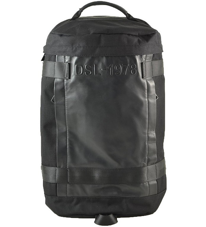 Black Canvas and Leather Men's Backpack - Diesel