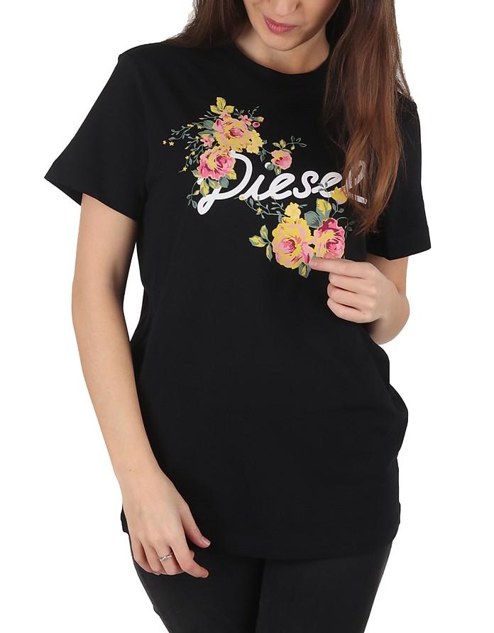 Flavia Flower Black Printed Cotton T-Shirt - Diesel
