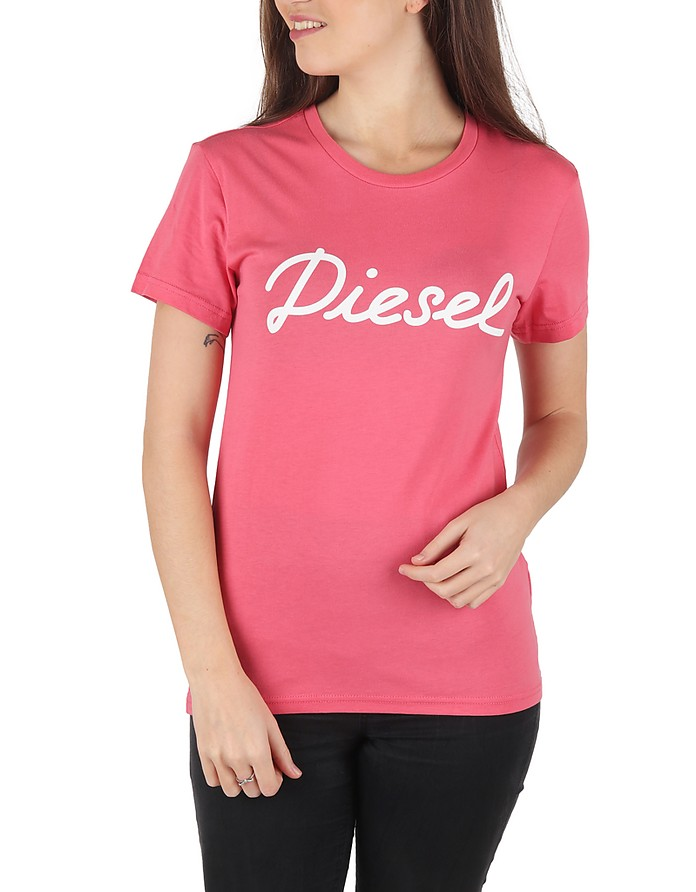 T Sully Ah B Pink Printed Cotton T-Shirt - Diesel