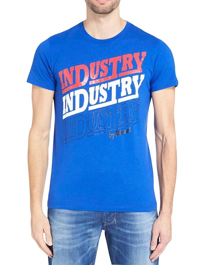 T-Diego-Ra Blue Cotton T-Shirt - Diesel