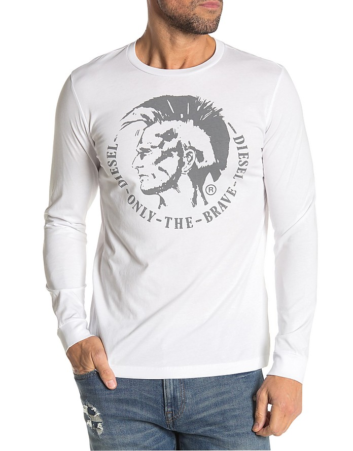 T-Diego-Long-B-R White Long Sleeve Cotton T-Shirt - Diesel