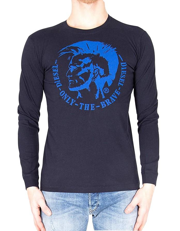 T-Diego-Long-B-R Navy Blue Long Sleeve Cotton T-Shirt - Diesel