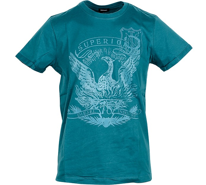 Petrol Blue Cotton Men's T-Shirt w/Superior Print - Diesel