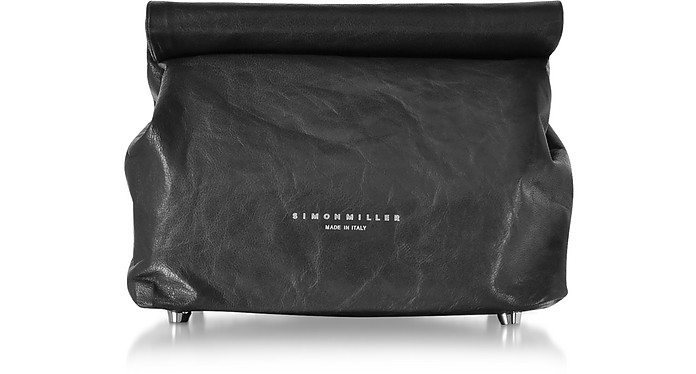 S809 Lunch Bag 20 cm in Pelle Nera - Simon Miller