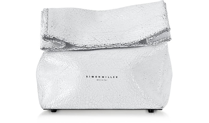 S809 White Crackle Leather 20 cm Lunch bag  - Simon Miller