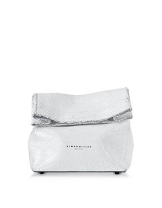 10cc43bafd S809 White Crackle Leather 20 cm Lunch bag - Simon Miller