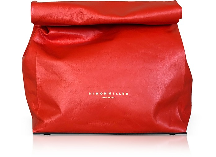 Red Leather 20 cm Lunch Bag  - Simon Miller