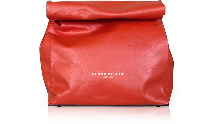 Red Leather 20cm Lunch Bag  - Simon Miller
