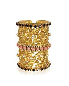Golden Brass Corinthian Column Cuff Bracelet - Sara Bencini