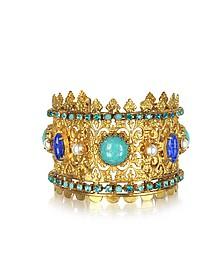 Golden Brass Camelot Cuff Bracelet - Sara Bencini