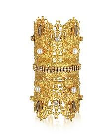 Golden Brass Double Crown Cuff Bracelet w/Glass Pearls - Sara Bencini