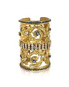 Golden Brass Corinthian Column Cuff Bracelet w/Pave Crystals - Sara Bencini