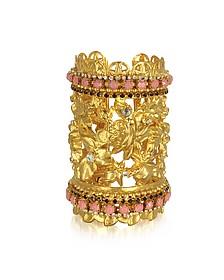 Golden Brass w/Triple Crystals Blossom Cuff Bracelet - Sara Bencini