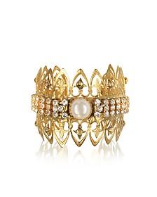 Golden Brass w/Crystals Venezia Cuff Bracelet - Sara Bencini