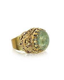 Polished Brass w/Green Jade Round Cabochon The Medici Ring - Sara Bencini