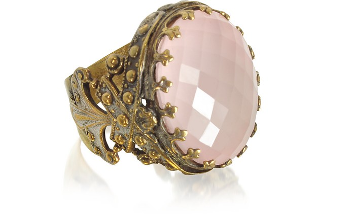 Polished Brass w/Oval Faceted Pink Quartz The Medici Ring - Sara Bencini
