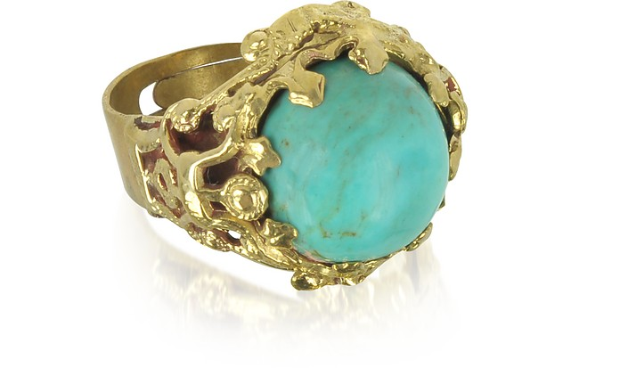 SARA BENCINI POLISHED BRASS AND TURQUOISE ROUND CABOCHON FLORENCE RING