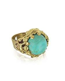 Polished Brass and Turquoise Round Cabochon Florence Ring - Sara Bencini
