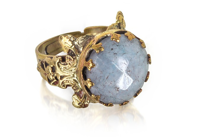 SARA BENCINI POLISHED BRASS AND FACETED CELESTINA ROUND CABOCHON FLORENCE RING