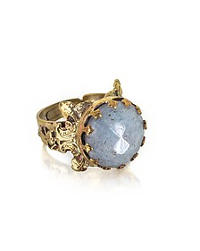 Polished Brass and Faceted Celestina Round Cabochon Florence Ring - Sara Bencini